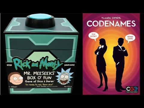 Codenames and Rick and Morty Mr. Meeseeks' Box O' Fun